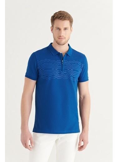 Avva AVVA Erkek Saks Polo Yaka Yarım Fermuarlı Baskılı T-Shirt A11Y1152 Saks